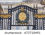 Small photo of LONDON, UNITED KINGDOM-JUNE 21, 2017:Buckingham Palace, details of decorative fence. Palace is the London residence and administrative headquarters of the reigning monarch of the United Kingdom
