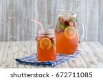 dietary detox drink with lemon... | Shutterstock . vector #672711085