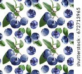 seamless vector bilberry pattern | Shutterstock .eps vector #672713965