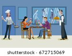 a man and a woman having a... | Shutterstock .eps vector #672715069