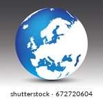 vector earth globe icon with... | Shutterstock .eps vector #672720604