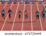 Small photo of STOCKHOLM, SWEDEN - JUNE 18, 2017: Mens 100 meters at the IAAF Diamond leauge Bauhaus Galan at Stockholm stadion.