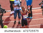 Small photo of STOCKHOLM, SWEDEN - JUNE 18, 2017: Winner Andre De Grasse (CAN) in the mens 100 meters at the IAAF Diamond leauge Bauhaus Galan at Stockholm stadion. 9.69 sek