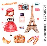 lovely summer collection with ... | Shutterstock . vector #672725707