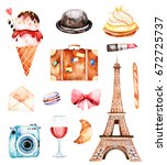 lovely summer collection with...   Shutterstock . vector #672725737