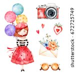 lovely summer collection with...   Shutterstock . vector #672725749