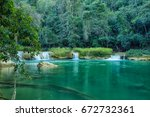 rainforest landscape with river ... | Shutterstock . vector #672732361