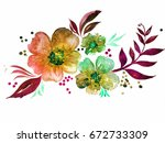 three flowers with leaves ... | Shutterstock . vector #672733309