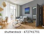 scandi style  gray living room... | Shutterstock . vector #672741751
