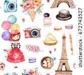 beautiful seamless pattern with ... | Shutterstock . vector #672743527