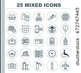 traveling icons set. collection ... | Shutterstock .eps vector #672747445