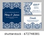 template of wedding cards with... | Shutterstock .eps vector #672748381