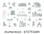 lisbon portugal city doodle... | Shutterstock .eps vector #672751684