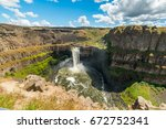 Amazing vertical slopes created by nature. Palouse falls state park, Eastern Washington