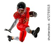 Small photo of one african woman teenager girl american football players isolated on white background silhouette with shadows