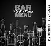 bar menu template. linear... | Shutterstock .eps vector #672763111