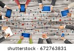 group of people with devices in ... | Shutterstock . vector #672763831