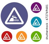 riverbank traffic sign icons...   Shutterstock .eps vector #672769681