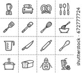 vector linear icons set of... | Shutterstock .eps vector #672777724
