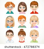 cute boys and girls portraits... | Shutterstock .eps vector #672788374