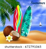 surfboards on a beach against a ... | Shutterstock .eps vector #672791065