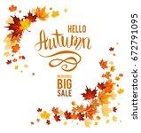 fall leaves decoration set for... | Shutterstock .eps vector #672791095