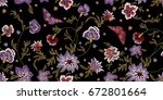 embroidery ethnic seamless... | Shutterstock .eps vector #672801664