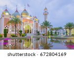 beautiful central mosque in... | Shutterstock . vector #672804169