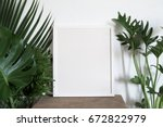white photo frame with green... | Shutterstock . vector #672822979
