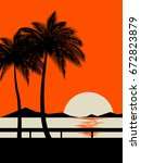 summer sunset on the beach... | Shutterstock .eps vector #672823879