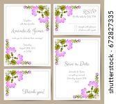 set of wedding cards with hand... | Shutterstock .eps vector #672827335