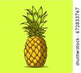 pineapple fruit doodle hand... | Shutterstock .eps vector #672833767