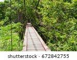 suspension bridge in the jungle | Shutterstock . vector #672842755