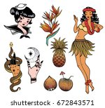 tropical exotic sea vector set. ... | Shutterstock .eps vector #672843571
