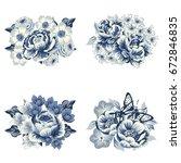 flower set | Shutterstock .eps vector #672846835