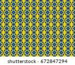 blue and yellow odd shapes... | Shutterstock . vector #672847294