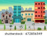 street resort beach town with... | Shutterstock . vector #672856549