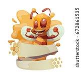 vector honey emblem with... | Shutterstock .eps vector #672861535