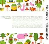 illustration  cartoon children ... | Shutterstock . vector #672862459