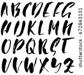 hand drawn dry brush font.... | Shutterstock .eps vector #672863131