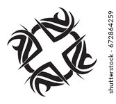 tribal tattoo icon flat black | Shutterstock .eps vector #672864259