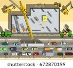 top view building under... | Shutterstock .eps vector #672870199