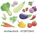 vegetables. set of simple color ... | Shutterstock .eps vector #672872641