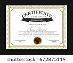 creative certificate template... | Shutterstock .eps vector #672875119