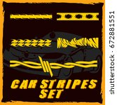 tribal and cool car stripe set... | Shutterstock .eps vector #672881551