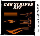 tribal and cool car stripe set... | Shutterstock .eps vector #672882355