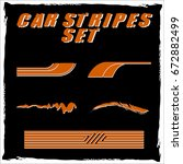 tribal and cool car stripe set... | Shutterstock .eps vector #672882499