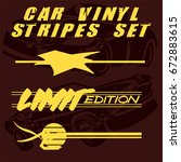 tribal and cool car stripe set... | Shutterstock .eps vector #672883615