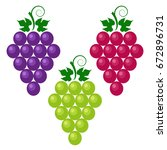 bunch of grapes with leaves. a...   Shutterstock .eps vector #672896731