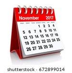 november 2017 calendar.... | Shutterstock . vector #672899014